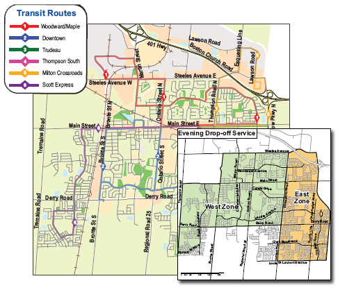 Milton Ontario Transit and Bus Schedule Map