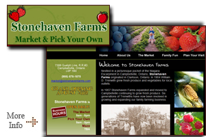 Stonehave Farms - Campbellville Ontario - Located just minutes from Milton Stonehaven Farms offers a variety of goods including fresh baked pies, sweet corn, pumpkins, pick your own berries, kids zone, wagon rides and more!